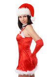 Portrait of beautiful sexy. Girl wearing santa claus clothes Stock Image