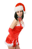 Portrait of beautiful sexy. Girl wearing santa claus clothes Stock Images