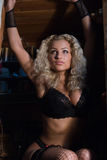 Portrait of a beautiful sexy blond woman Royalty Free Stock Photo