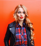 Portrait of beautiful sexy blonde woman with red lipstick Royalty Free Stock Photo