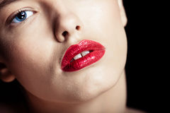 Portrait of a beautiful sexy brunette girl. With red lips Stock Photos