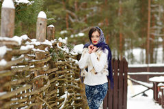 Portrait of beautiful sexy brunette girl in a blue scarf on the. Background of nature in winter looks straight into the camera Stock Photography