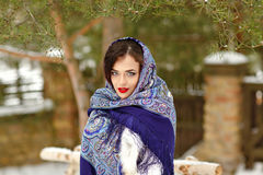 Portrait of beautiful sexy brunette girl in a blue scarf in the. Winter on a background of nature, close-up Royalty Free Stock Image