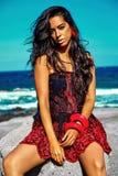 Portrait of beautiful sexy Caucasian hot brunette girl model Stock Photography