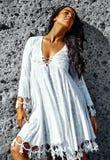 Portrait of beautiful sexy Caucasian hot brunette girl model Royalty Free Stock Image