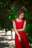 Portrait of a beautiful sexy fashion girl in a red dress on the nature of the  park Royalty Free Stock Images