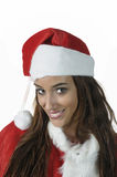 Portrait of beautiful sexy girl. Wearing Santa Claus clothes Royalty Free Stock Photography