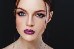 Portrait of beautiful sexy girl with bright makeup close-up Stock Photography