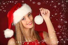 Portrait of beautiful sexy girl celebrating christmas party Stock Image
