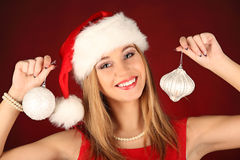 Portrait of beautiful sexy girl celebrating christmas party Stock Photo