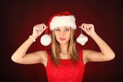 Portrait of beautiful sexy girl celebrating christmas party Stock Photos