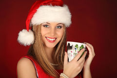 Portrait of beautiful sexy girl celebrating christmas party Royalty Free Stock Images
