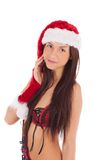Portrait of beautiful sexy girl celebrating christmas party Stock Photography