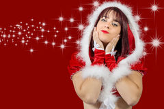 Portrait of beautiful sexy girl wearing santa claus clothes Stock Photography