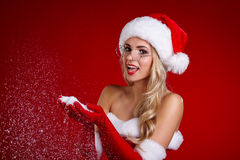 Portrait of beautiful girl wearing santa claus clothes Stock Photography