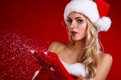 Portrait of beautiful sexy girl wearing santa claus clothes Stock Images