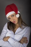 Portrait of beautiful sexy girl wearing santa claus clothes Royalty Free Stock Image