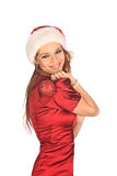 Portrait of beautiful sexy girl wearing santa claus clothes Stock Image