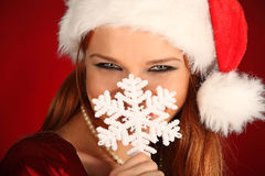 Portrait of beautiful sexy girl wearing santa claus clothes Royalty Free Stock Photo