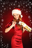 Portrait of beautiful sexy girl wearing santa claus clothes Stock Photo