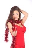 Portrait of beautiful sexy girl wearing santa Stock Photo