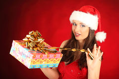 Portrait of beautiful sexy girl wearing santa Royalty Free Stock Images