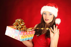 Portrait of beautiful sexy girl wearing santa Stock Image