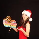Portrait of beautiful sexy girl wearing santa Royalty Free Stock Photo