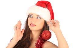 Portrait of beautiful sexy girl wearing santa Royalty Free Stock Photos