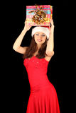 Portrait of beautiful sexy girl wearing santa Stock Images