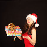 Portrait of beautiful sexy girl wearing santa Stock Photography