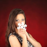 Portrait of beautiful sexy girl wearing santa Stock Photos