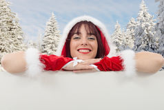 Portrait of beautiful sexy girl wearing santa claus clothes Royalty Free Stock Photos