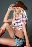 Portrait of a beautiful sexy rodeo girl Royalty Free Stock Image
