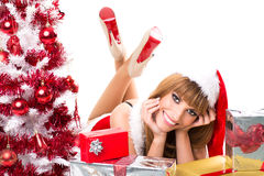 Portrait of beautiful sexy santa girl. On white background Stock Image
