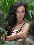 Portrait of a beautiful woman on the beach royalty free stock images