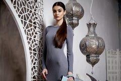 Portrait beautiful sexy woman brunette hair style arabic Royalty Free Stock Photos