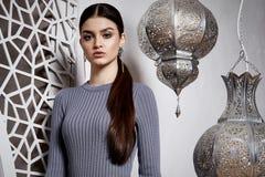 Portrait beautiful woman brunette hair style arabic Royalty Free Stock Photos