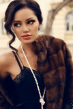 Portrait of beautiful sexy woman with dark hair in luxurious fur coat Stock Photos