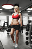 Portrait of a beautiful woman dressed in sports clothes in the gym Royalty Free Stock Image