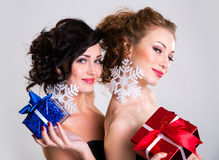 Portrait of a beautiful woman with a gifts Stock Images