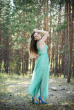 Portrait of a beautiful sexy woman in green dress on nature Royalty Free Stock Images