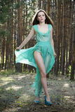 Portrait of a beautiful sexy woman in green dress on nature Stock Photography
