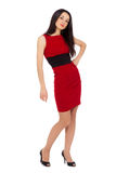 Portrait of beautiful sexy woman wearing red dress and black sho Stock Images