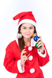 Portrait of beautiful sexy woman wearing santa claus hat  holdin Royalty Free Stock Images