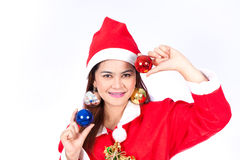 Portrait of beautiful sexy woman wearing santa claus hat  holdin Royalty Free Stock Photo