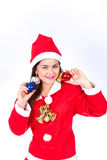 Portrait of beautiful sexy woman wearing santa claus hat  holdin Stock Photos