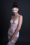 Portrait of beautiful sexy woman in white lingerie and mask over Royalty Free Stock Photos