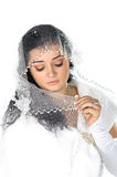 Portrait of beautiful shy bride with veil Stock Photo