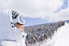 Portrait of beautiful skier looking forward Royalty Free Stock Images